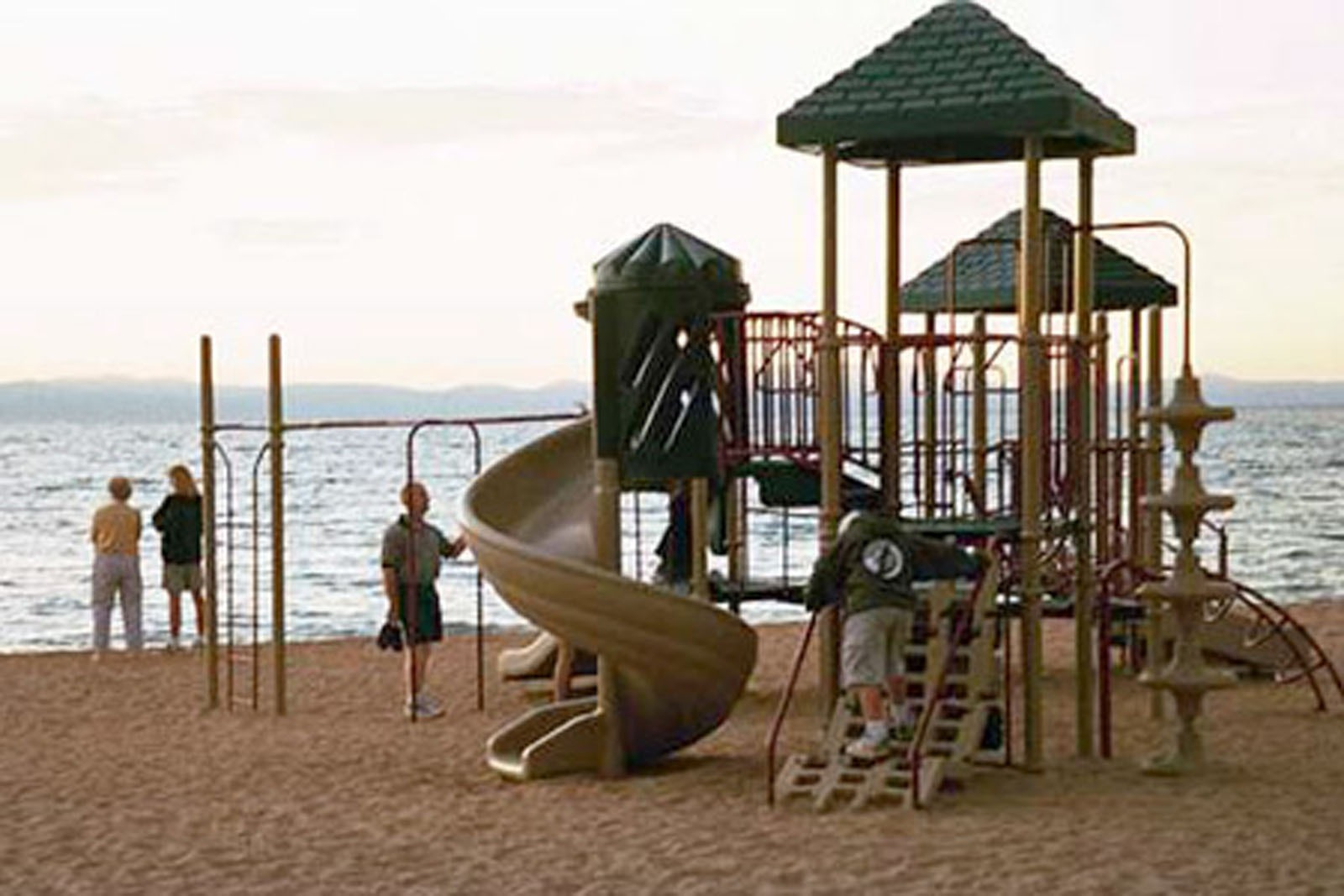 Beach playground at Lakeside Beach in Lake Tahoe