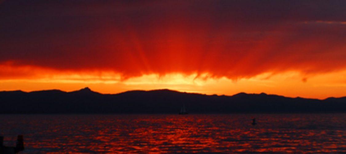 Sunset on Lake Tahoe from Lakeside Beach