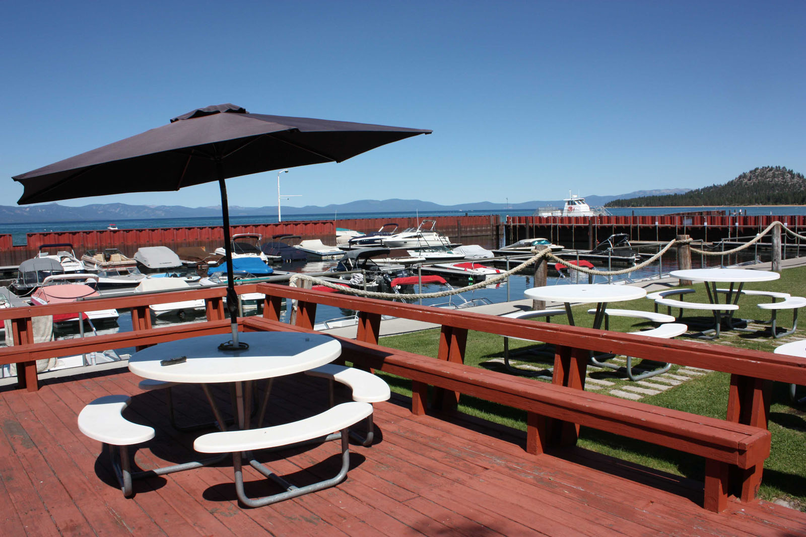 Marina on Lake Tahoe with picnic area